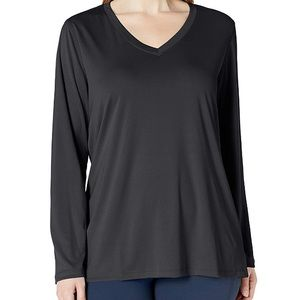 Just My Size Womens Active Long Sleeve V-Neck Tee